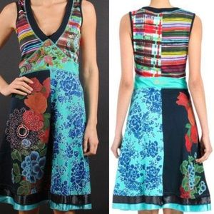 Desigual Multicolor V-Neck Dress with Satin Accent